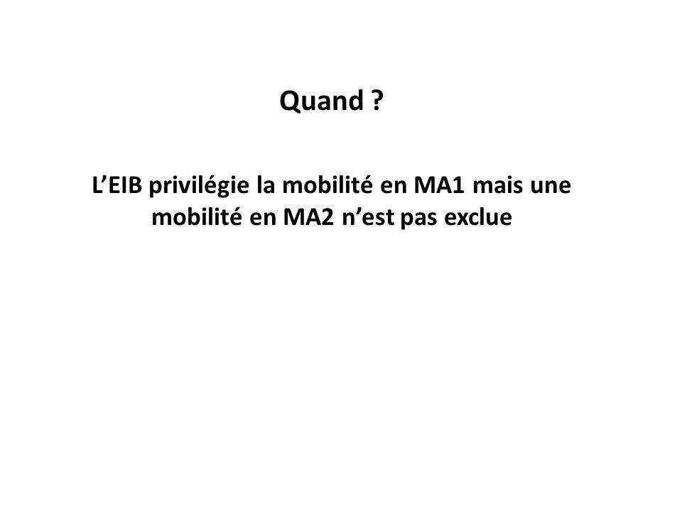 Quand L'EIB privilégie la mobilité en MA1 mais une mobilité en MA2 n'est pas exclue