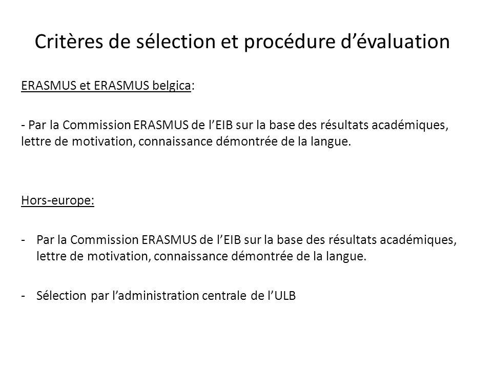 Critères de sélection et procédure d'évaluation
