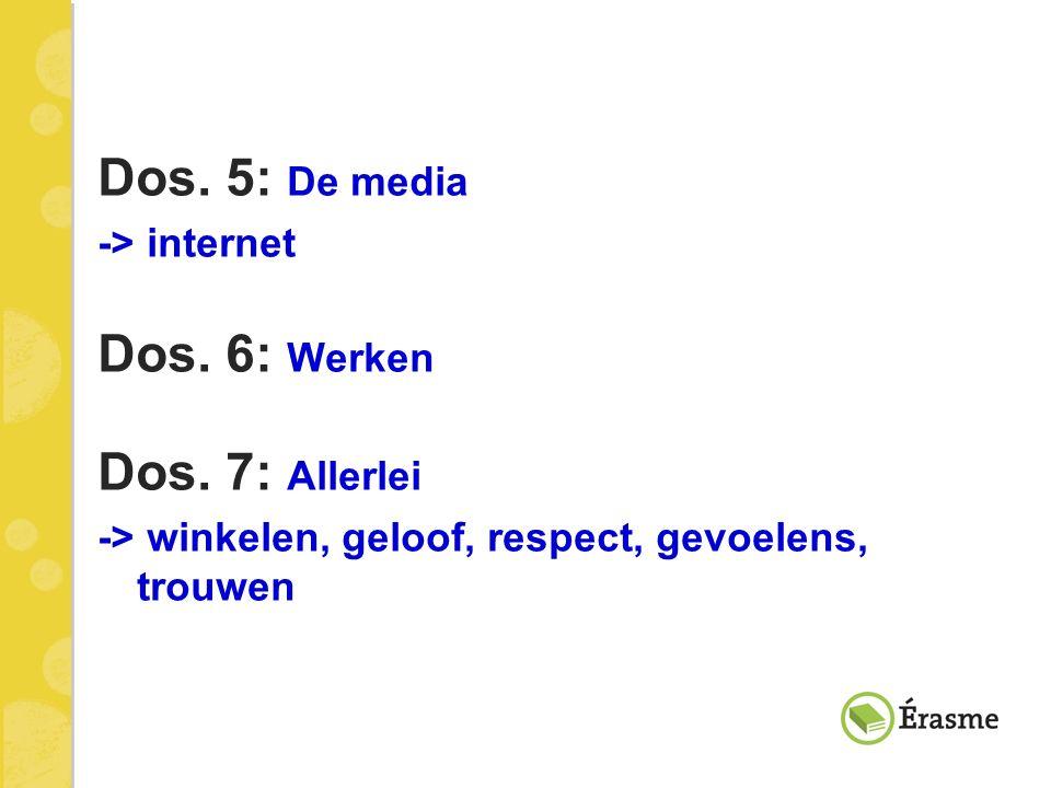 Dos. 5: De media Dos. 6: Werken Dos. 7: Allerlei -> internet