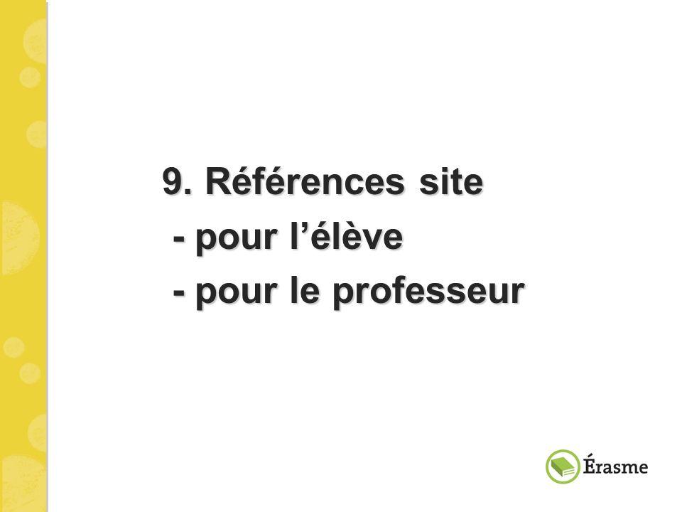 9. Références site - pour l'élève - pour le professeur
