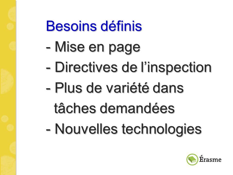 Besoins définis - Mise en page. - Directives de l'inspection. - Plus de variété dans. tâches demandées.