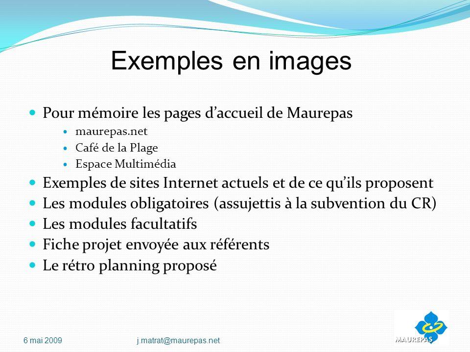Exemples en images Pour mémoire les pages d'accueil de Maurepas