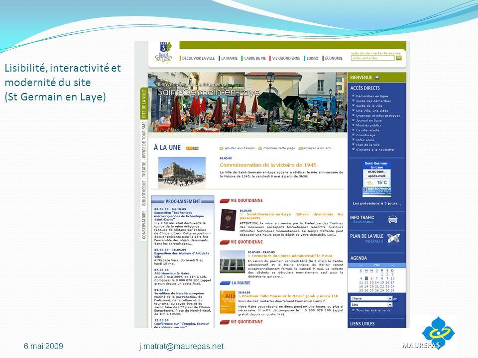 Lisibilité, interactivité et modernité du site (St Germain en Laye)
