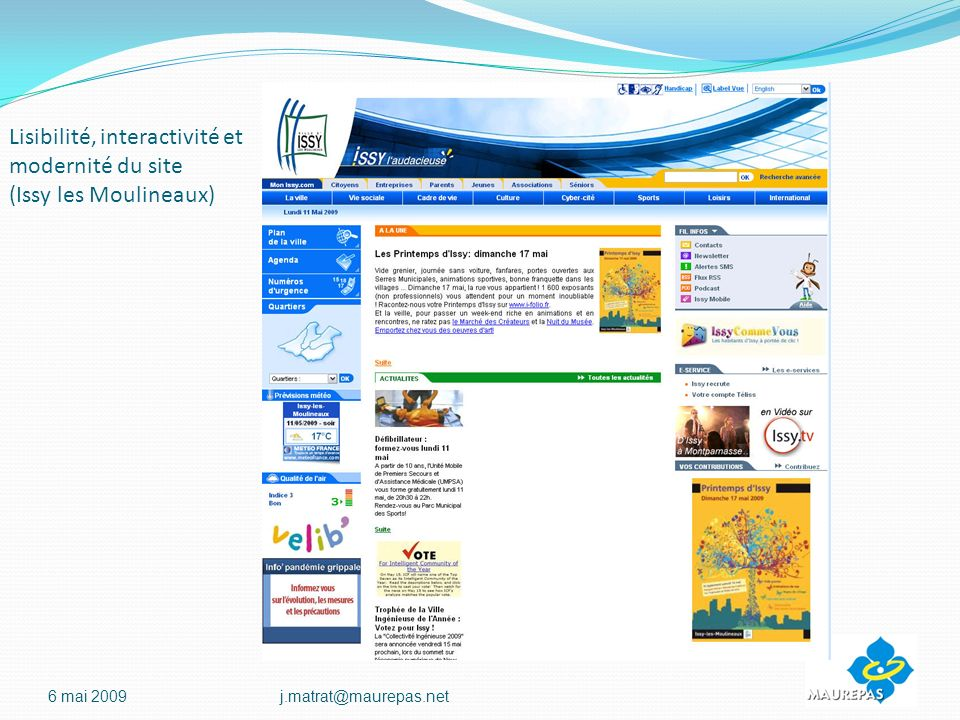 Lisibilité, interactivité et modernité du site (Issy les Moulineaux)