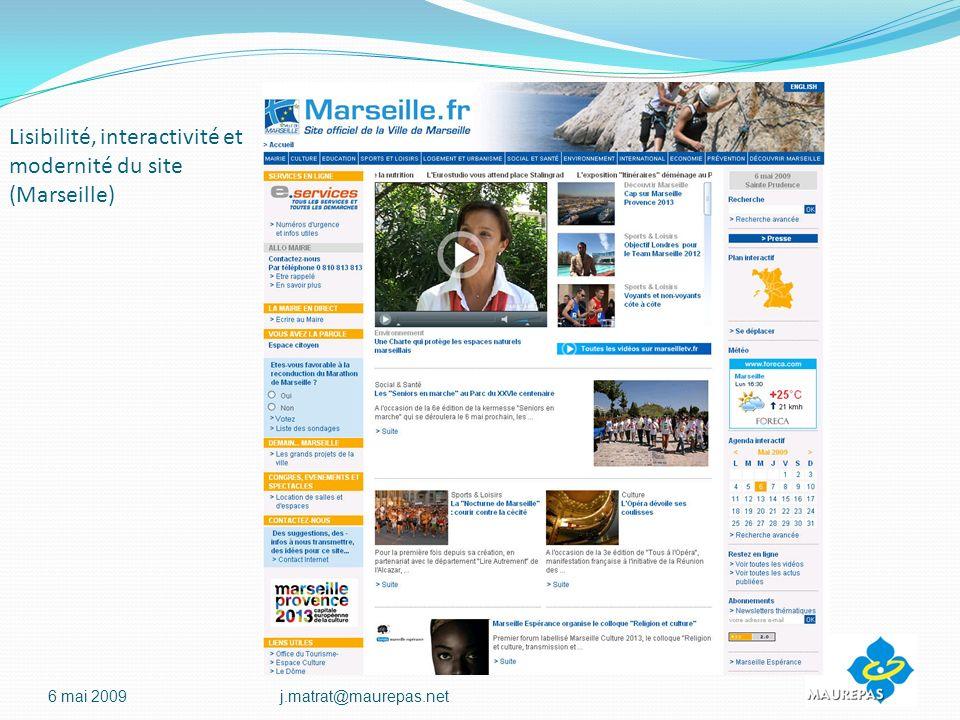Lisibilité, interactivité et modernité du site (Marseille)