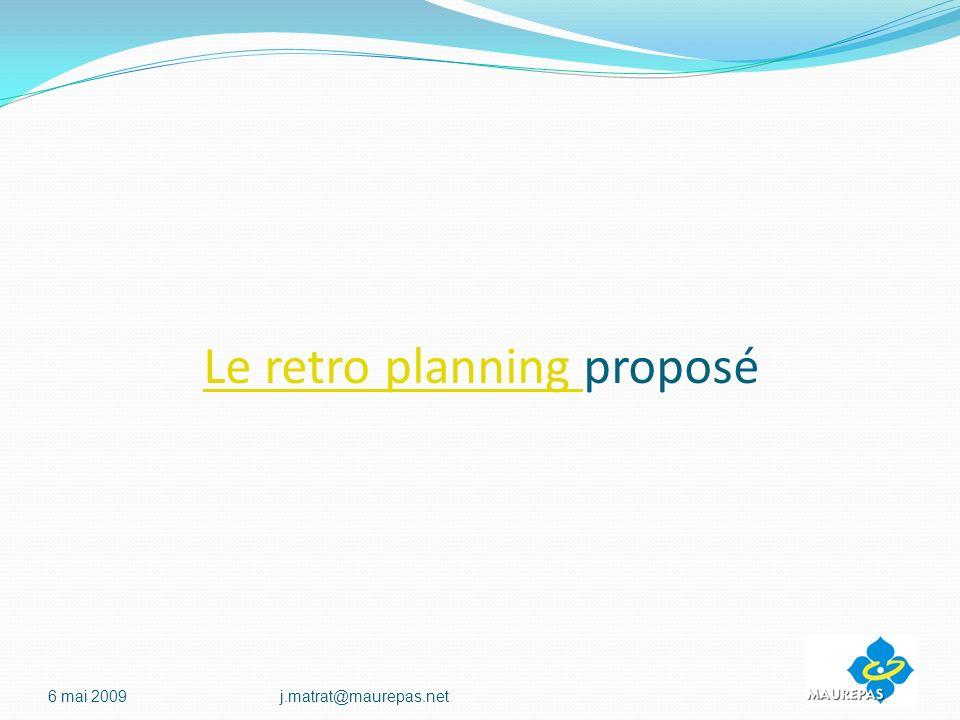 Le retro planning proposé