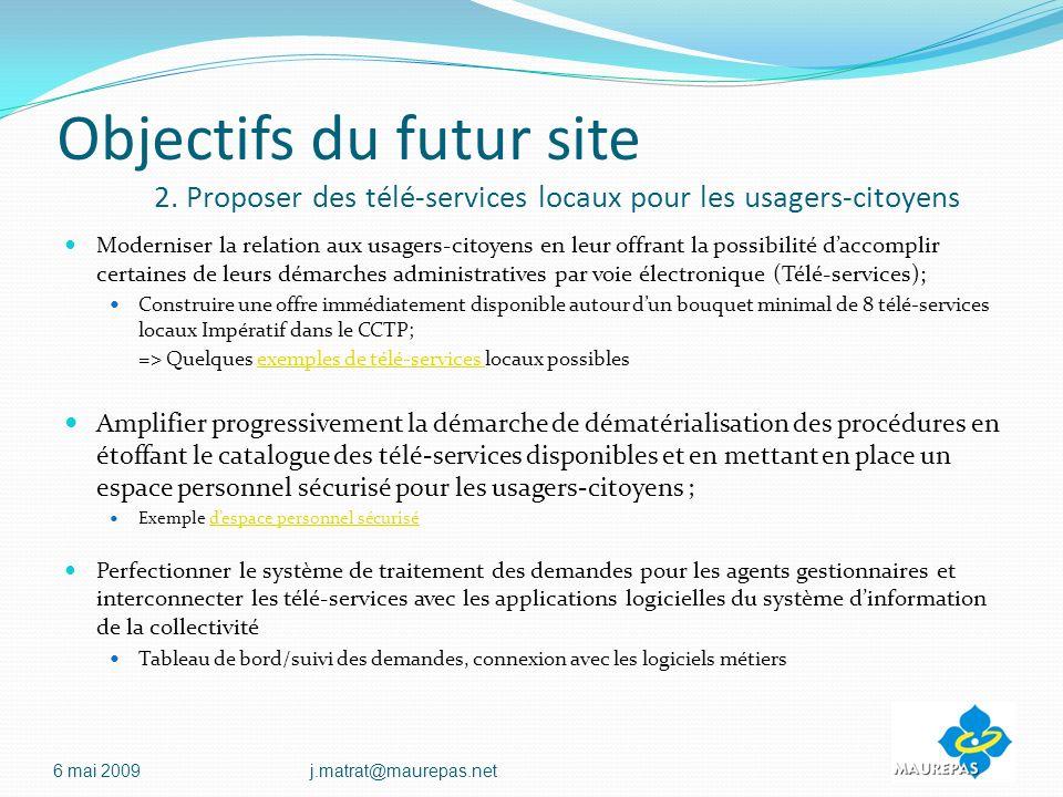 Objectifs du futur site 2