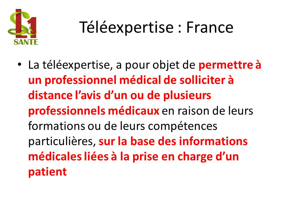 Téléexpertise : France
