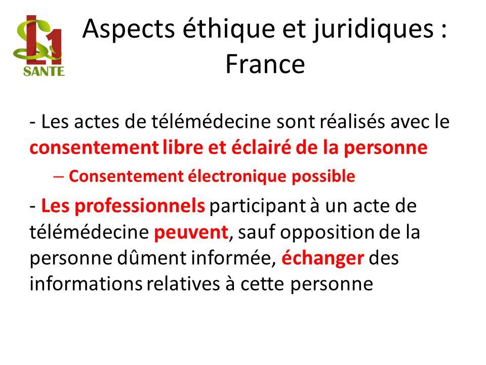 Aspects éthique et juridiques : France
