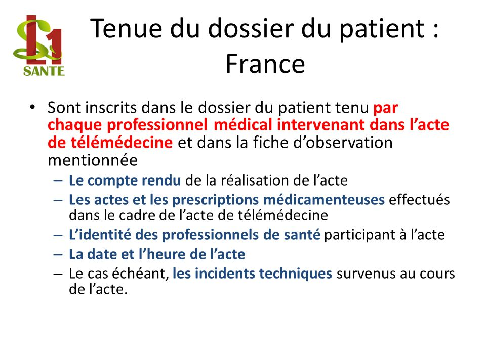 Tenue du dossier du patient : France