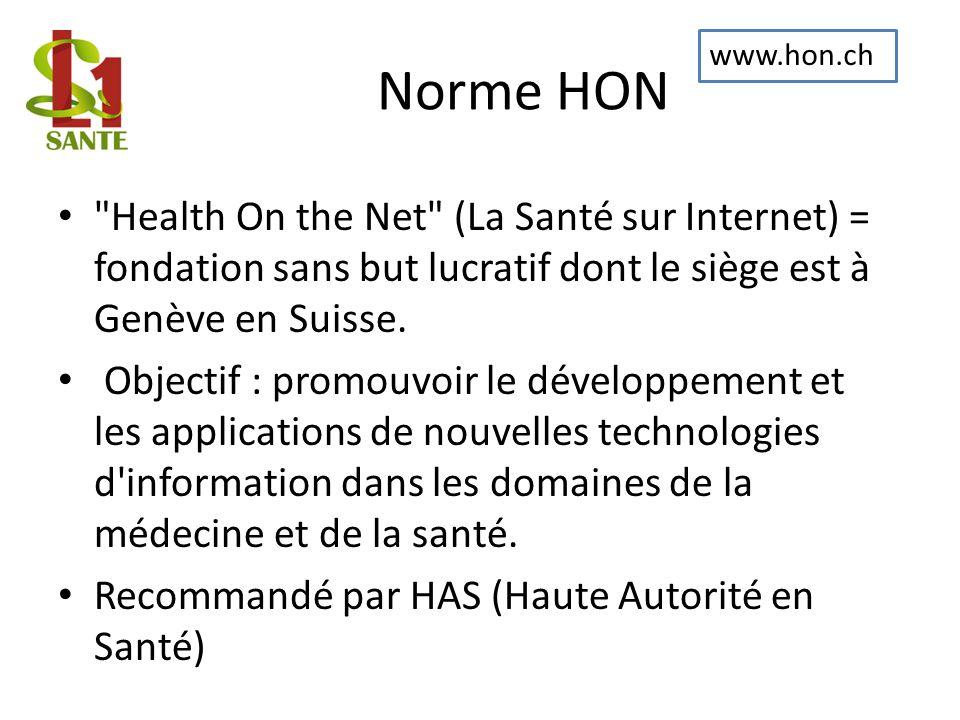 Norme HON www.hon.ch. Health On the Net (La Santé sur Internet) = fondation sans but lucratif dont le siège est à Genève en Suisse.