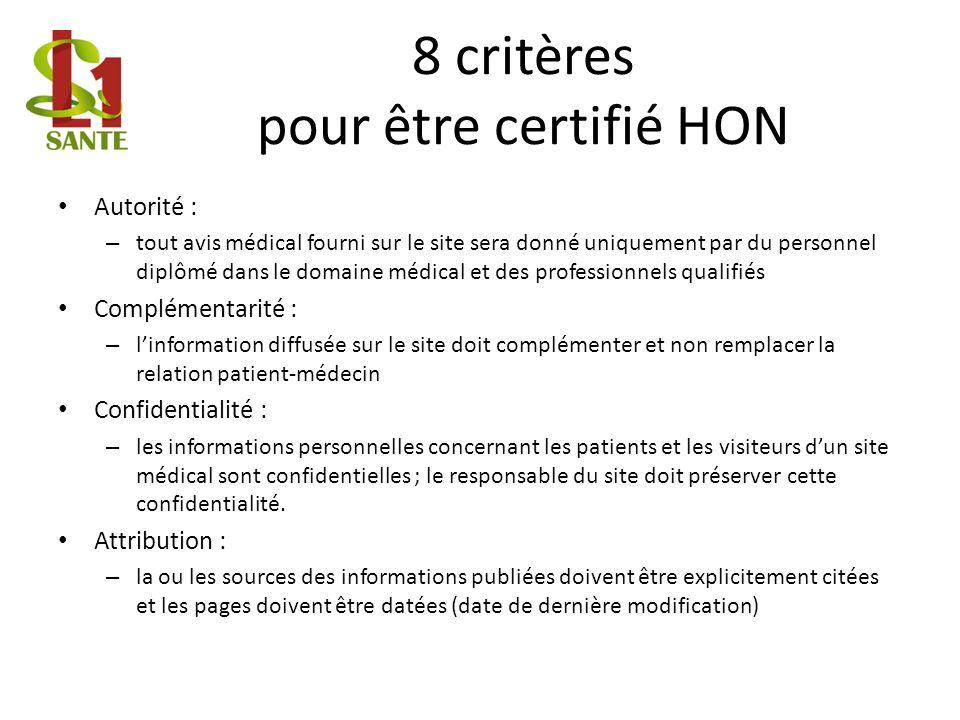 8 critères pour être certifié HON