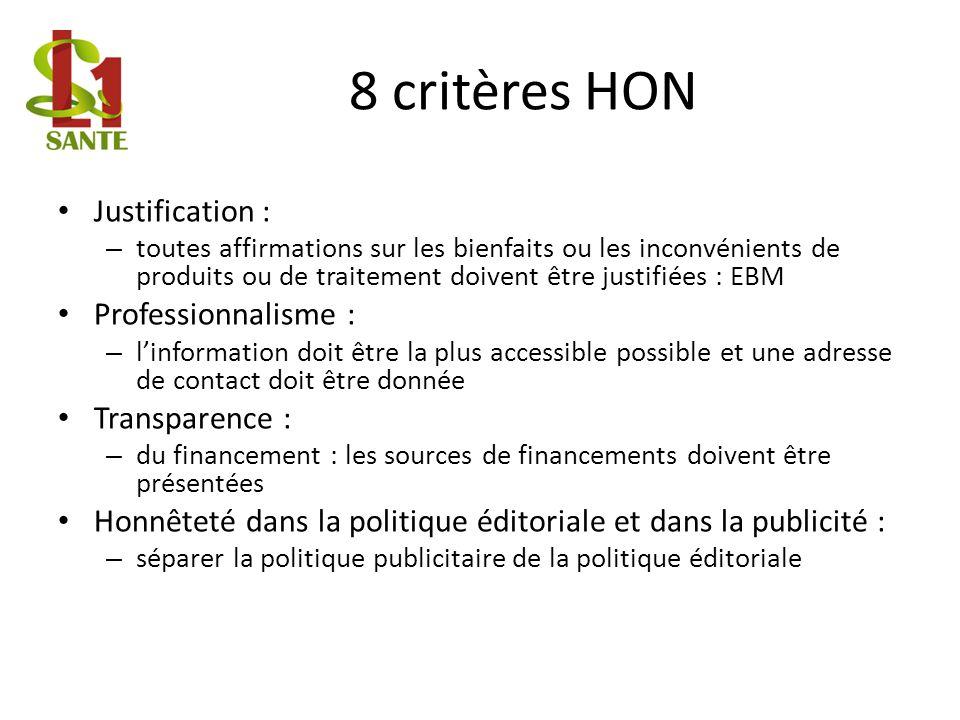 8 critères HON Justification : Professionnalisme : Transparence :