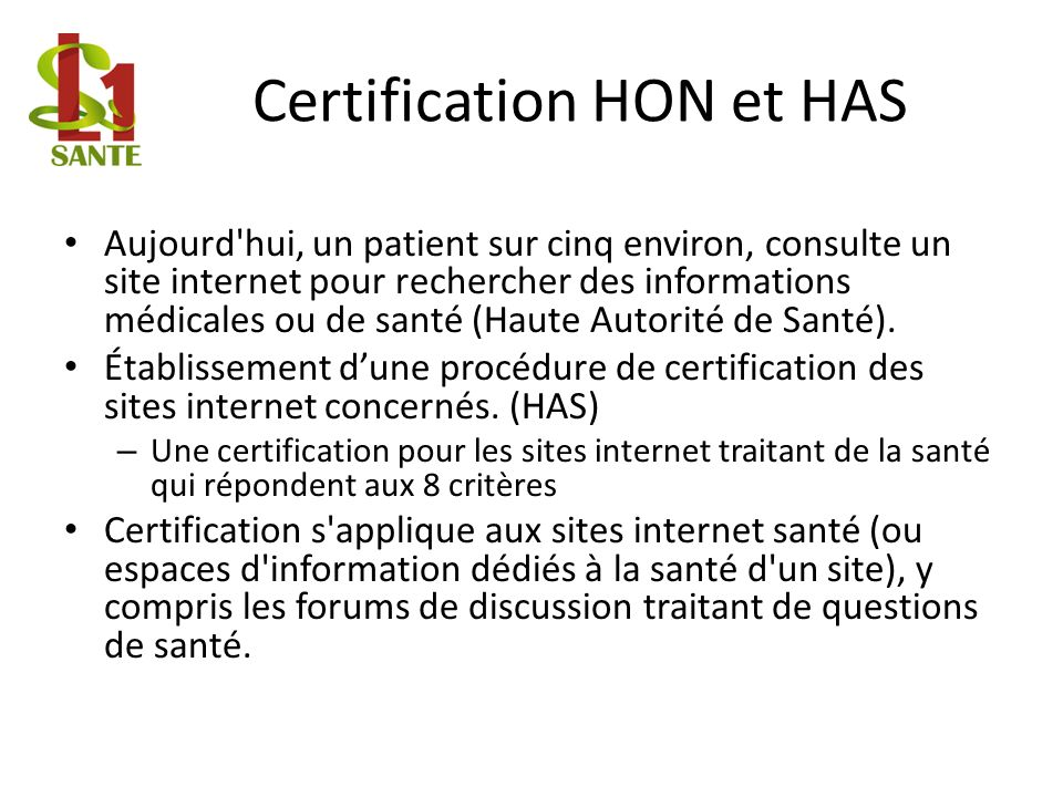 Certification HON et HAS