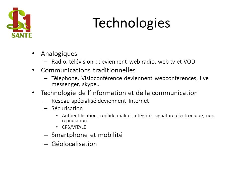 Technologies Analogiques Communications traditionnelles