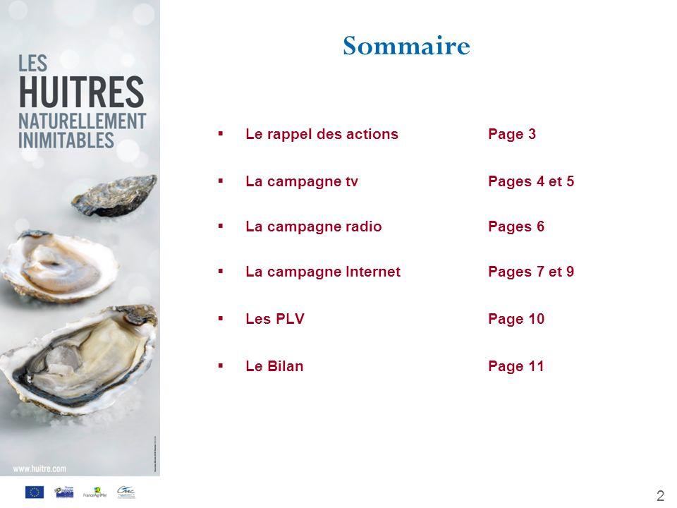 Sommaire Le rappel des actions Page 3 La campagne tv Pages 4 et 5