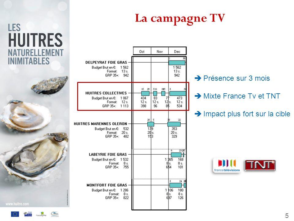 Présence sur 3 mois Mixte France Tv et TNT Impact plus fort sur la cible