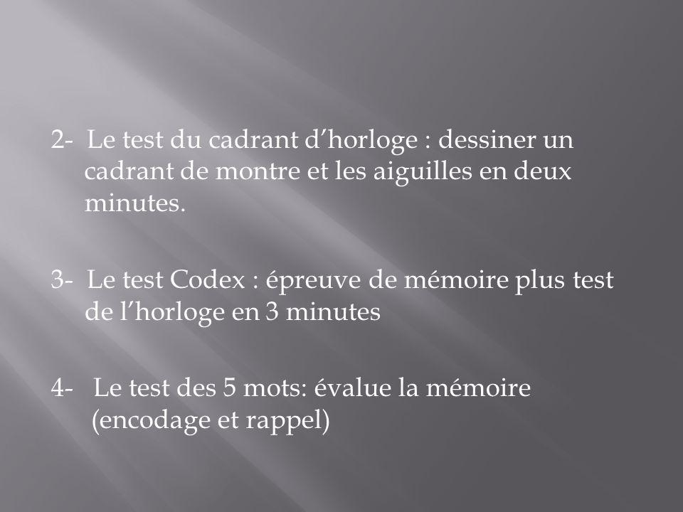 2- Le test du cadrant d'horloge : dessiner un cadrant de montre et les aiguilles en deux minutes.