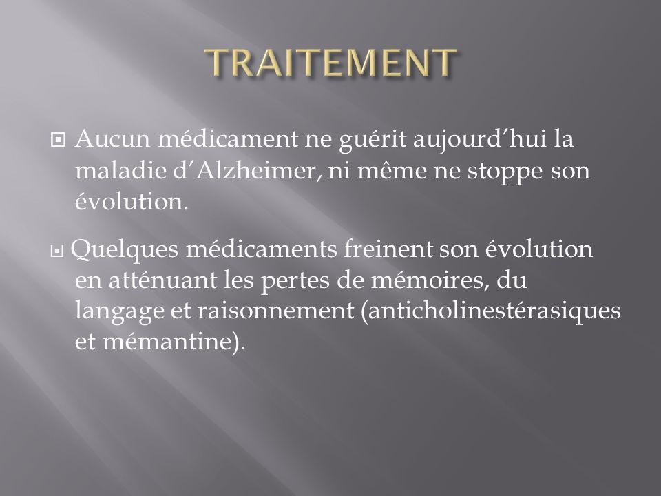 TRAITEMENT Aucun médicament ne guérit aujourd'hui la maladie d'Alzheimer, ni même ne stoppe son évolution.