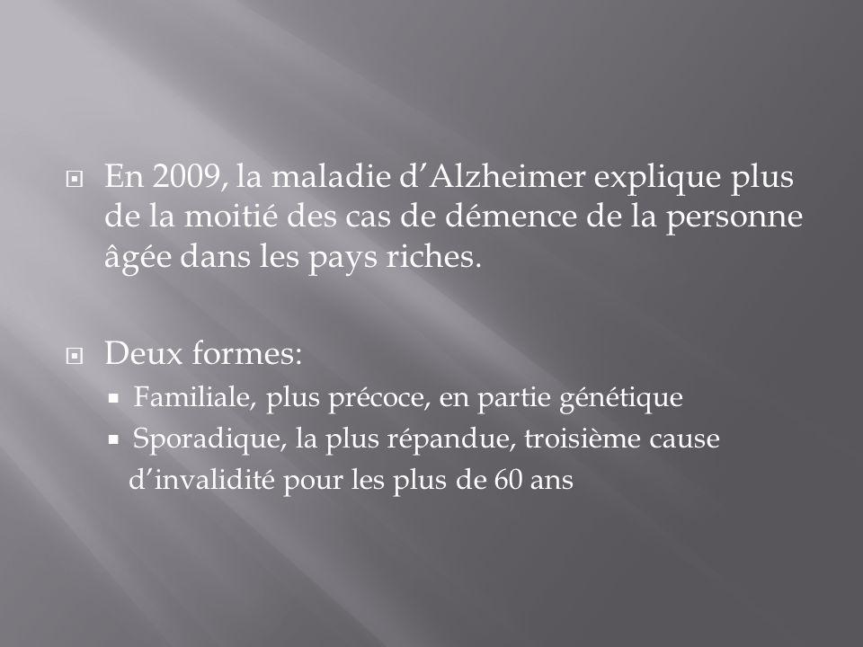 En 2009, la maladie d'Alzheimer explique plus de la moitié des cas de démence de la personne âgée dans les pays riches.