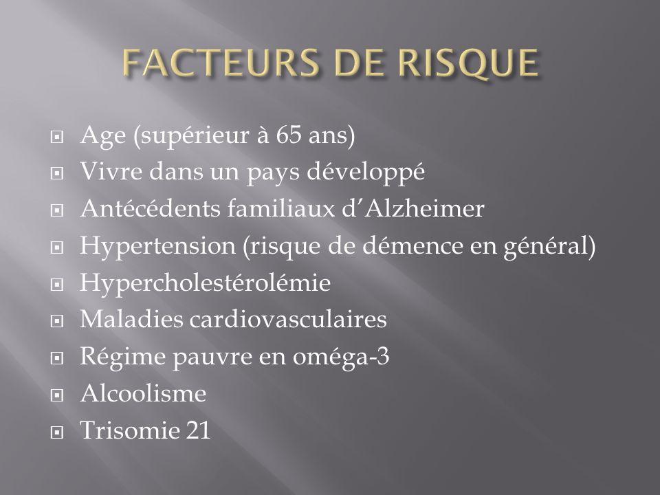 FACTEURS DE RISQUE Age (supérieur à 65 ans)