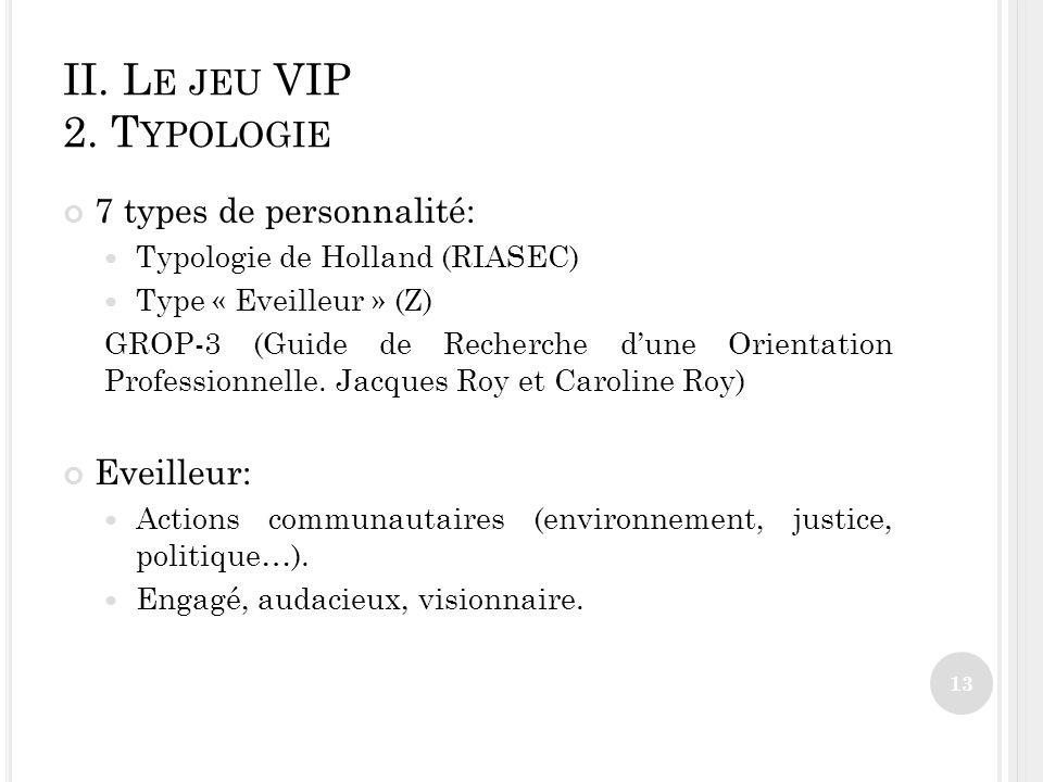 II. Le jeu VIP 2. Typologie 7 types de personnalité: Eveilleur: