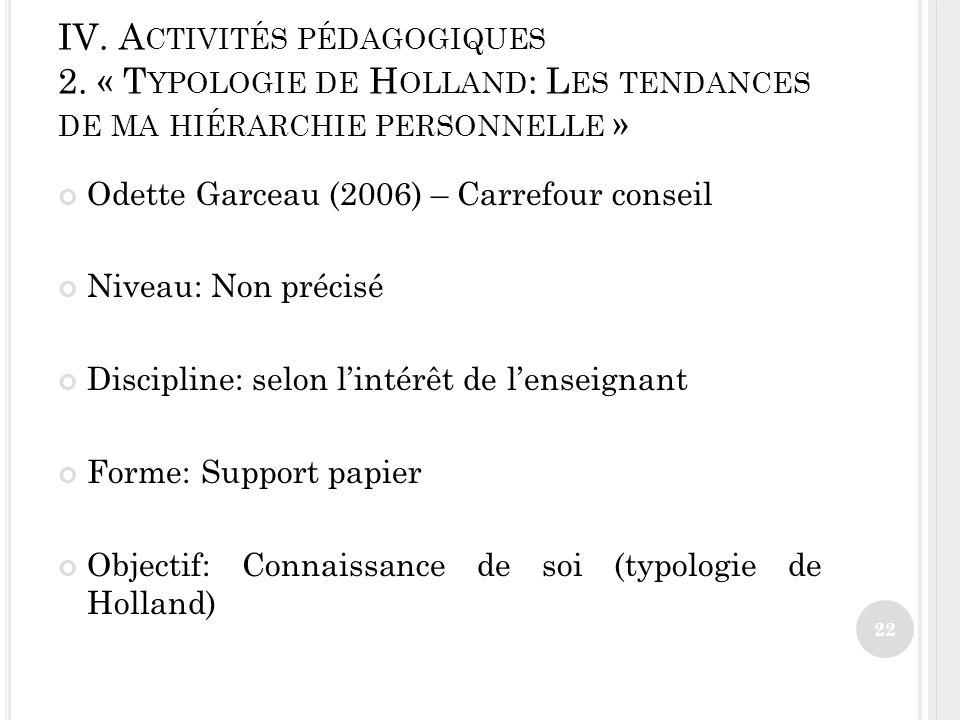 IV. Activités pédagogiques 2