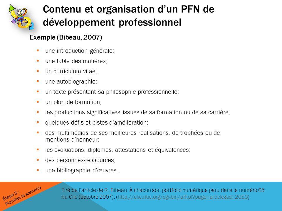 Contenu et organisation d'un PFN de développement professionnel