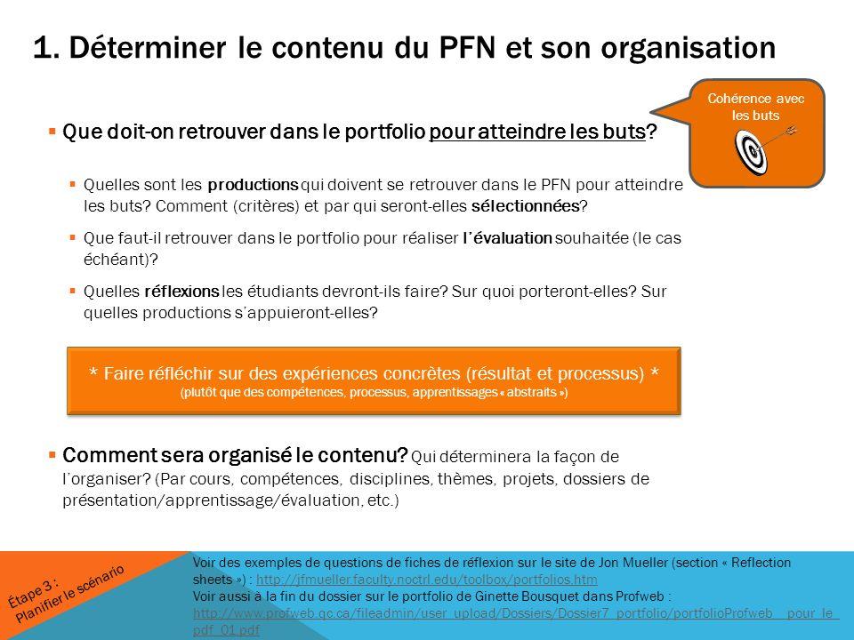 1. Déterminer le contenu du PFN et son organisation