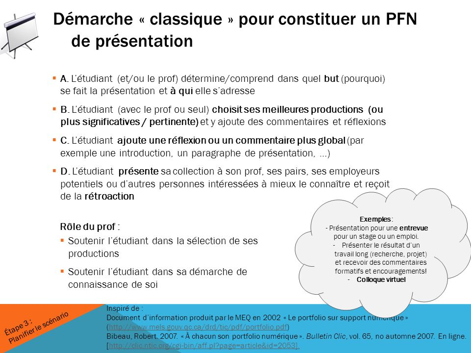 Démarche « classique » pour constituer un PFN de présentation