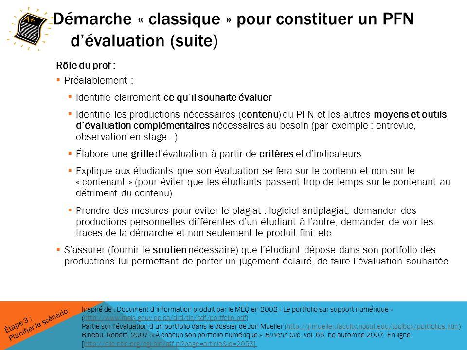Démarche « classique » pour constituer un PFN d'évaluation (suite)