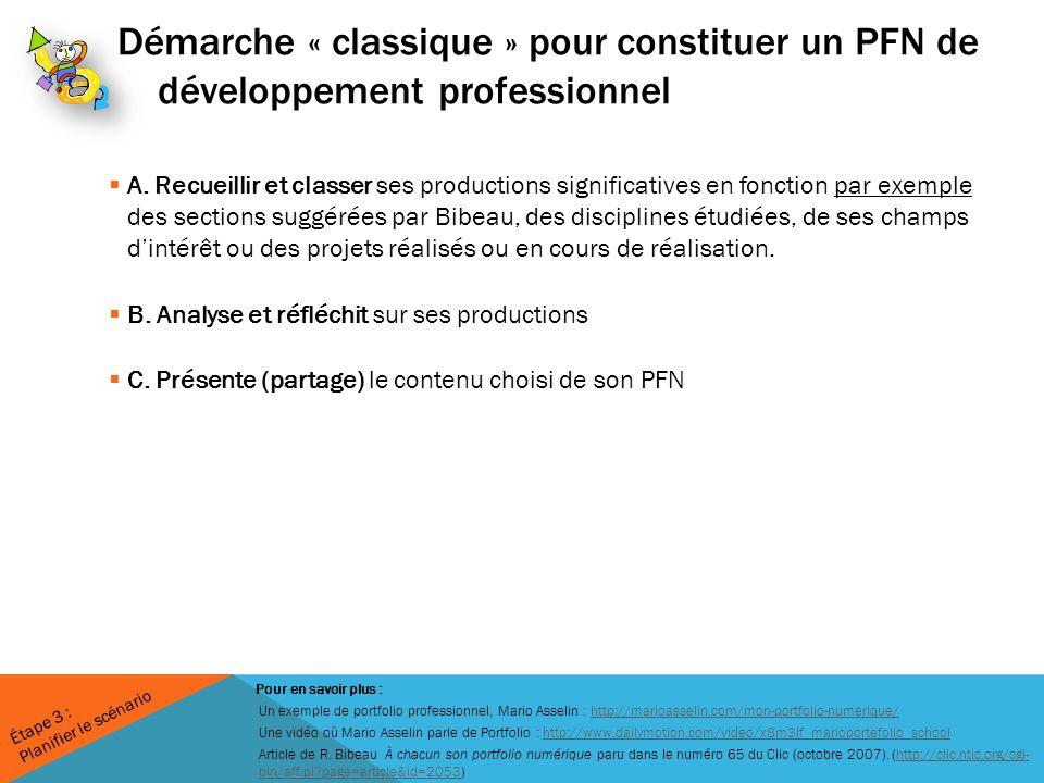 Démarche « classique » pour constituer un PFN de développement professionnel