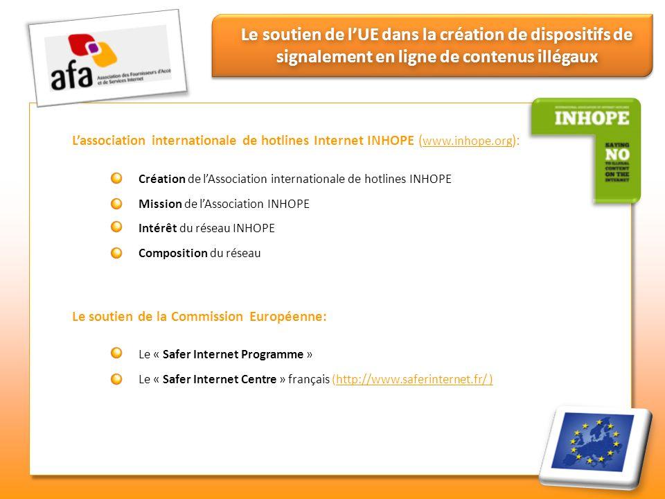 Le soutien de l'UE dans la création de dispositifs de signalement en ligne de contenus illégaux