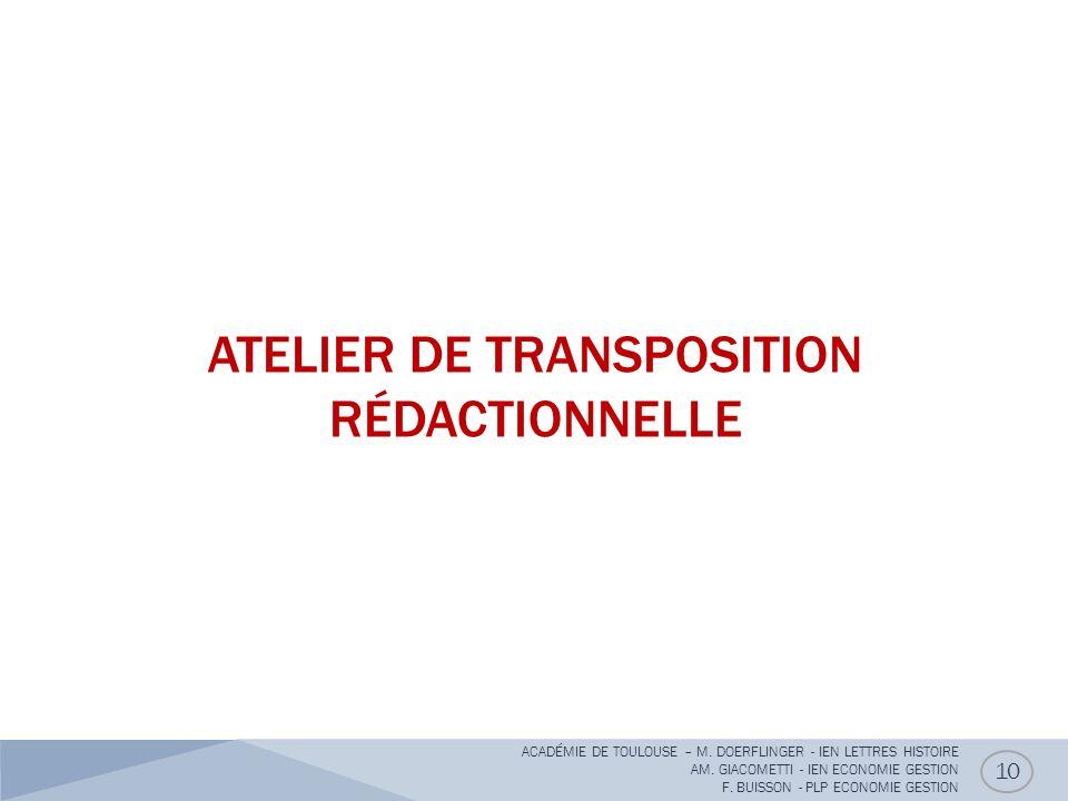 ATELIER DE TRANSPOSITION RÉDACTIONNELLE
