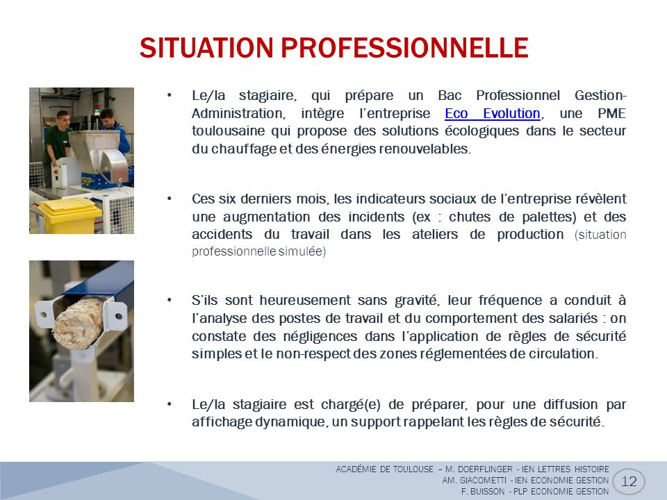 SITUATION PROFESSIONNELLE