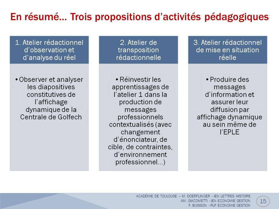 En résumé… Trois propositions d'activités pédagogiques