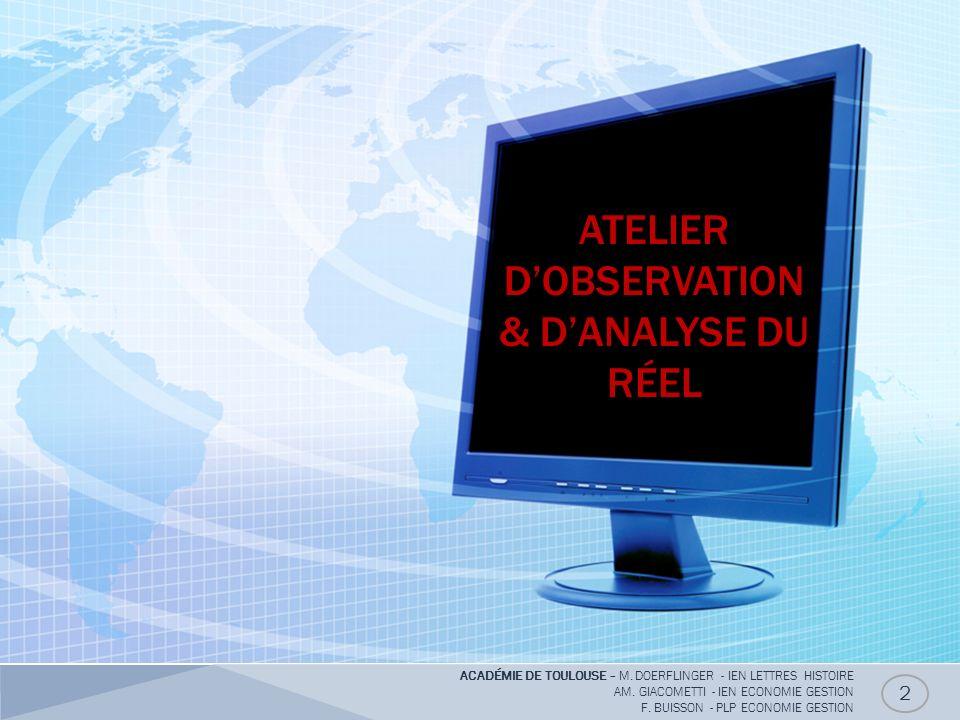 ATELIER D'OBSERVATION & D'ANALYSE DU RÉEL