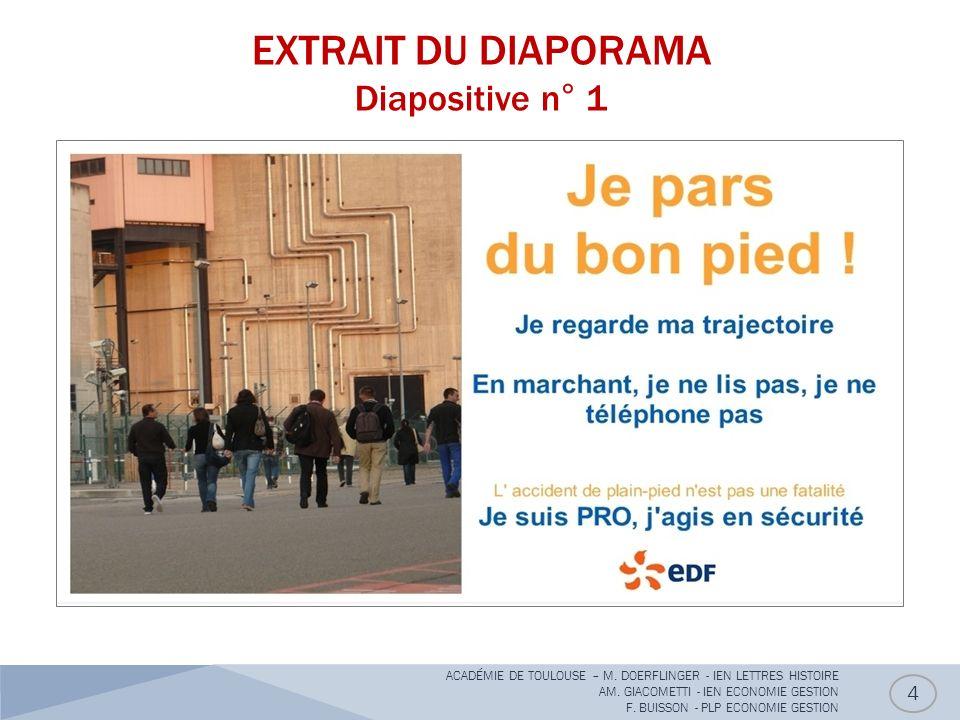 EXTRAIT DU DIAPORAMA Diapositive n° 1