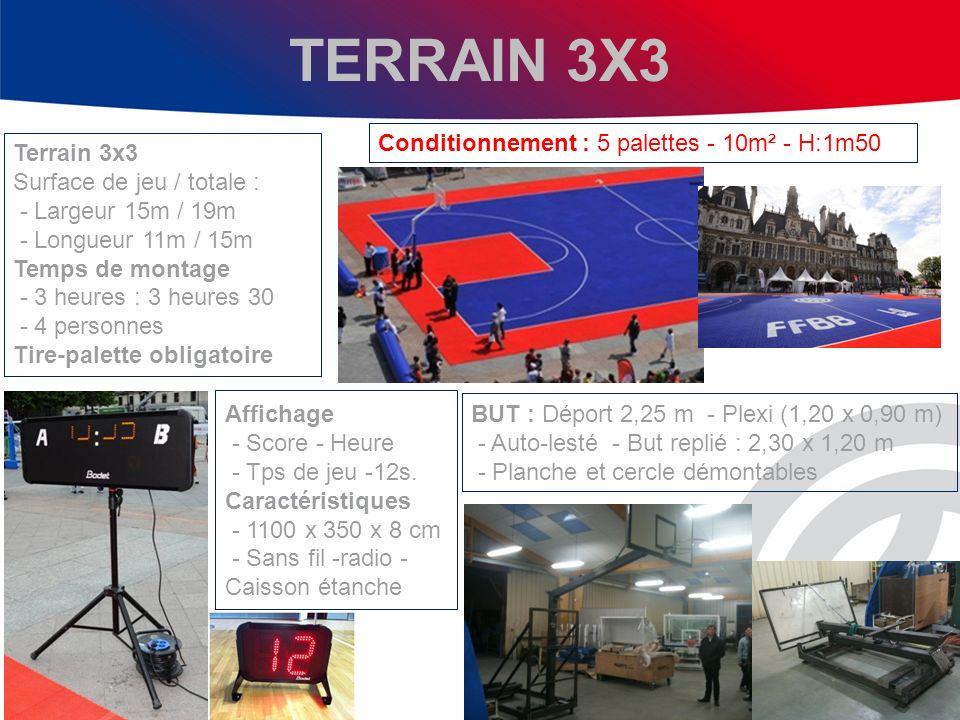TERRAIN 3X3 Conditionnement : 5 palettes - 10m² - H:1m50 Terrain 3x3