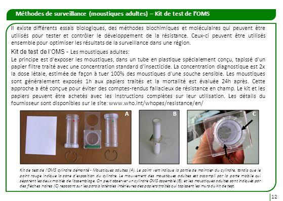 Méthodes de surveillance (moustiques adultes) – Kit de test de l'OMS