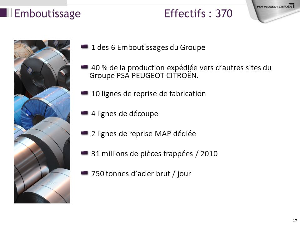 Emboutissage Effectifs : 370