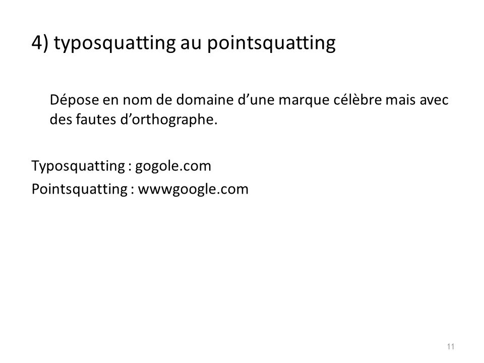 4) typosquatting au pointsquatting