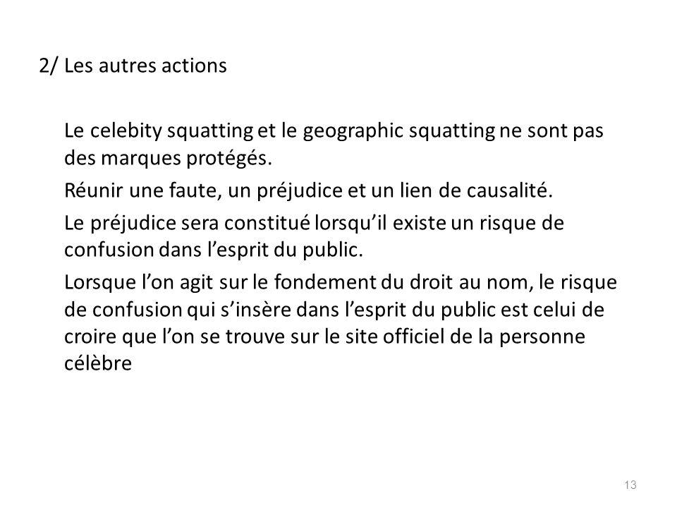 2/ Les autres actions Le celebity squatting et le geographic squatting ne sont pas des marques protégés.