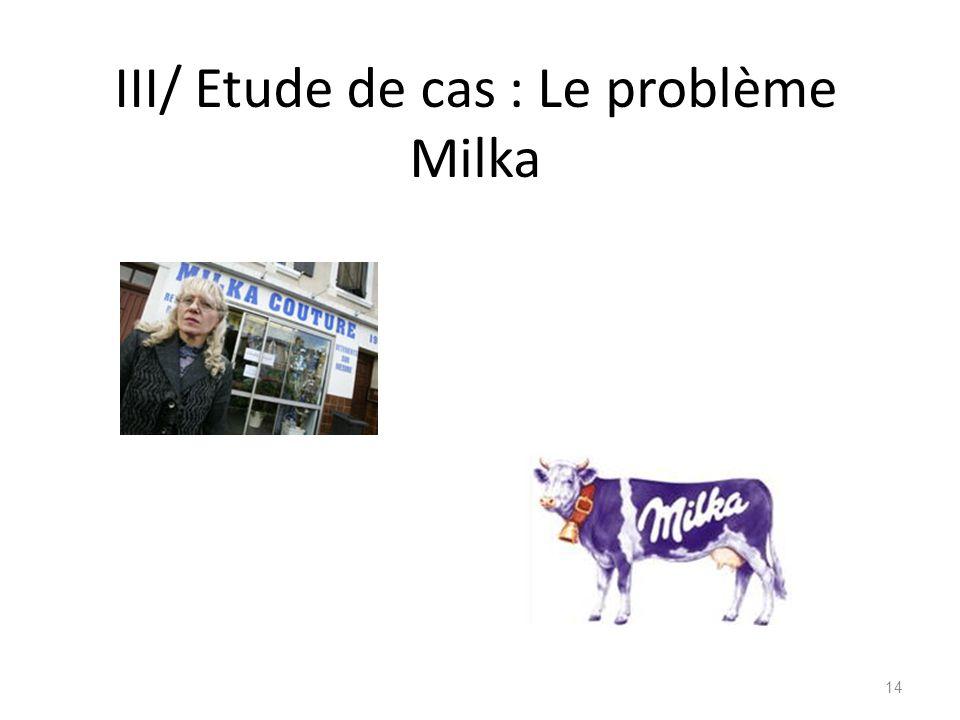 III/ Etude de cas : Le problème Milka