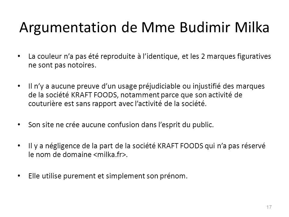Argumentation de Mme Budimir Milka