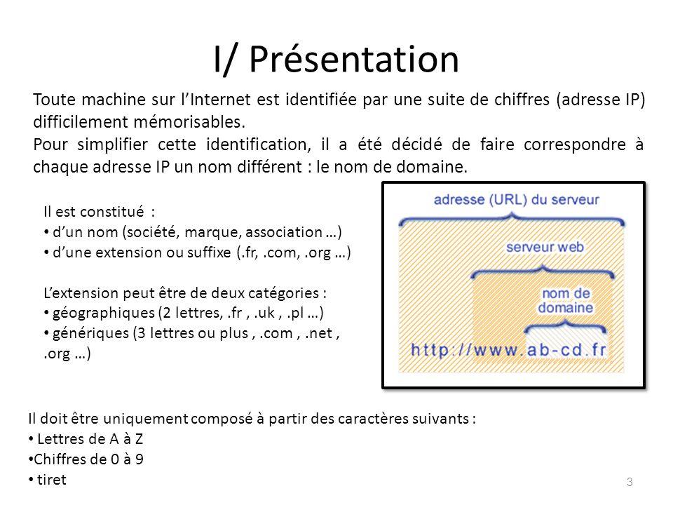 I/ Présentation Toute machine sur l'Internet est identifiée par une suite de chiffres (adresse IP) difficilement mémorisables.