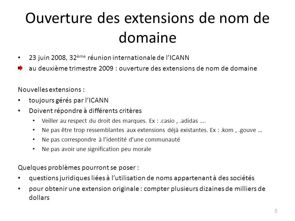 Ouverture des extensions de nom de domaine