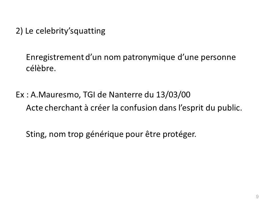 2) Le celebrity'squatting Enregistrement d'un nom patronymique d'une personne célèbre.