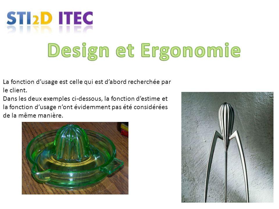 Design et Ergonomie La fonction d'usage est celle qui est d'abord recherchée par le client.