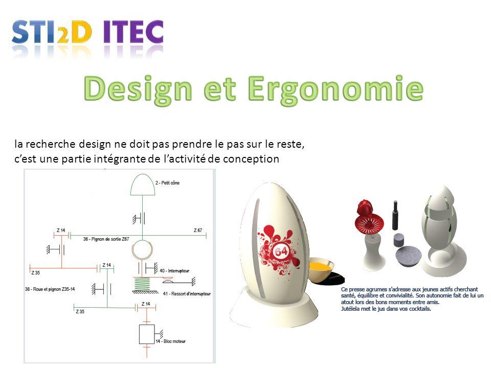 Design et Ergonomie la recherche design ne doit pas prendre le pas sur le reste, c'est une partie intégrante de l'activité de conception.
